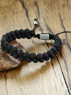 мужской браслет с лавовым камнем