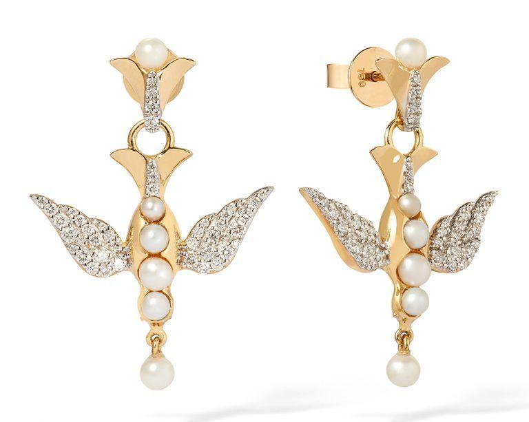 Золотые серьги с жемчугом и бриллиантами вдохновлены символом голубя, Annoushka X Temperley Bridal Jewels
