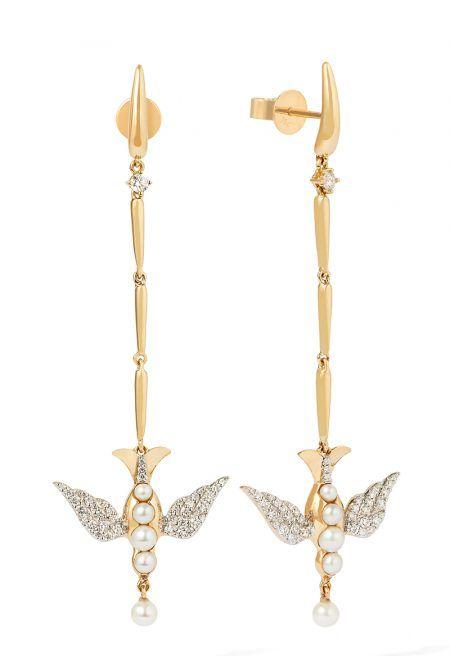 Длинные золотые серьги с голубем инкрустированы жемчугом и бриллиантами, Annoushka X Temperley Bridal Jewels