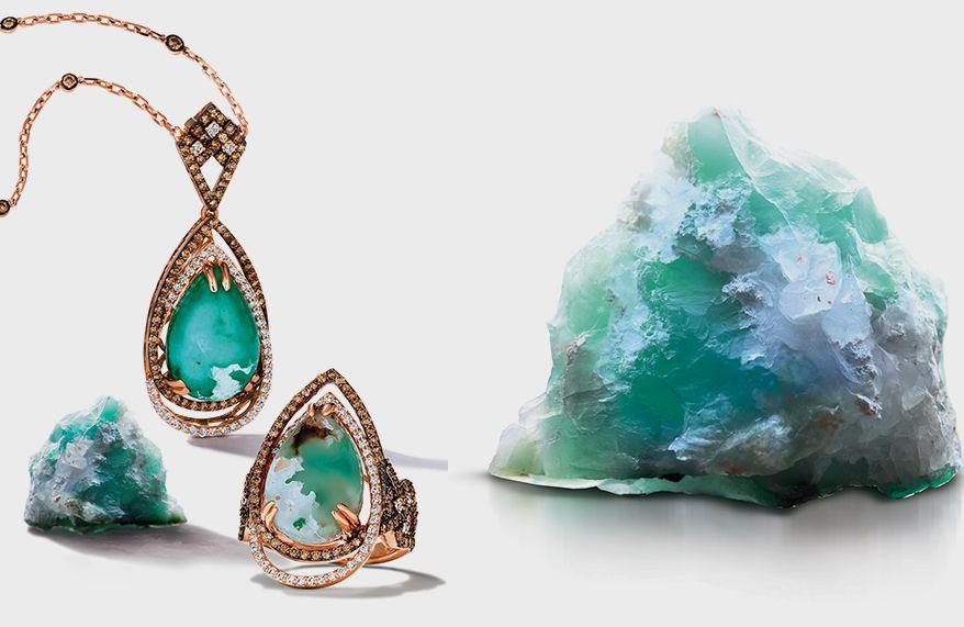 Редкий драгоценный камень аквапраз и украшения из него от бренда Le Vian