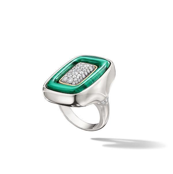 Флип-кольцо Italian Heist Getaway из стерлингового серебра и 14-каратного золота с малахитом и бриллиантами от Франчески Виллы